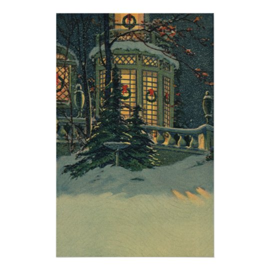 Vintage Christmas, House with Wreaths in Windows Poster