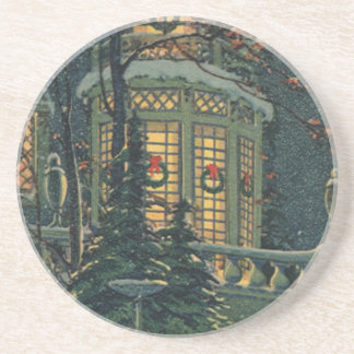 Vintage Christmas, House with Wreaths in Windows Sandstone Coaster