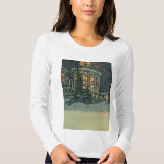 Vintage Christmas, House with Wreaths in Windows T-Shirt