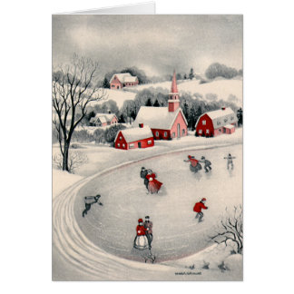 Vintage Christmas, Ice Skating Skaters Frozen Lake Greeting Card