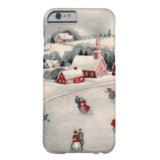 Vintage Christmas Ice Skating Skaters Frozen Pond iPhone 6 Case