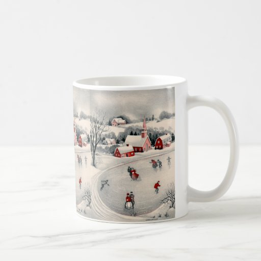 Vintage Christmas, Ice Skating Skaters Frozen Pond Coffee Mugs