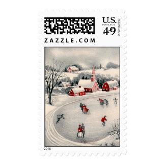 Vintage Christmas, Ice Skating Skaters Frozen Pond Postage Stamps