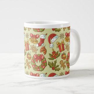 Vintage Christmas Icons Set Large Coffee Mug