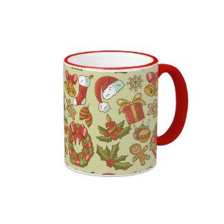 Vintage Christmas Icons Set Ringer Mug