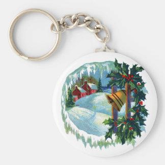 Vintage Christmas Illustration Key Chain