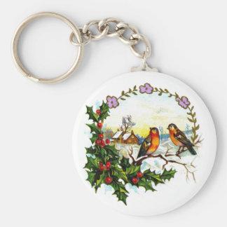 Vintage Christmas Illustration Keychain