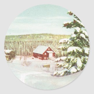 Vintage Christmas in Norway, 1950 Classic Round Sticker