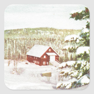 Vintage Christmas in Norway, 1950 Square Sticker