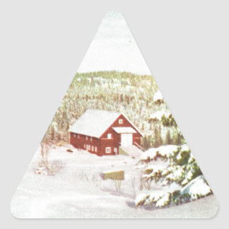 Vintage Christmas in Norway, 1950 Triangle Sticker