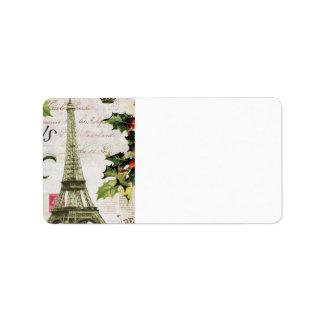 Vintage christmas in Paris Address Label