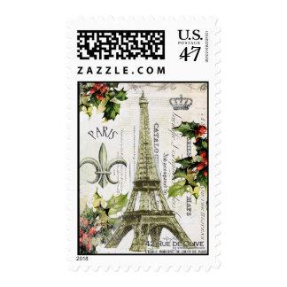 Vintage Christmas in Paris postage stamp