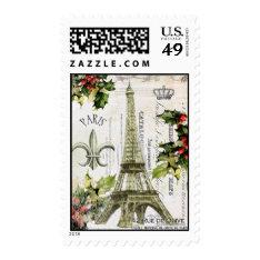 Vintage Christmas In Paris Postage Stamp at Zazzle