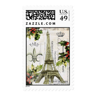 Vintage Christmas In Paris Postage Stamp at Zazzle