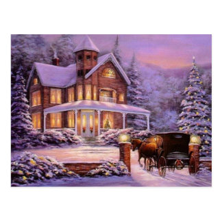 Vintage Christmas In The Country Postcard