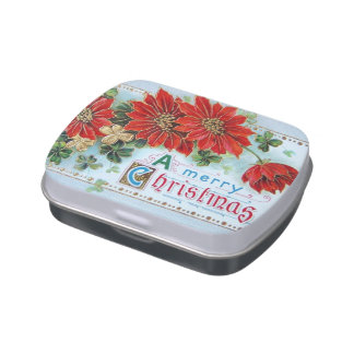 Vintage Christmas Jelly Bean Candy Tin