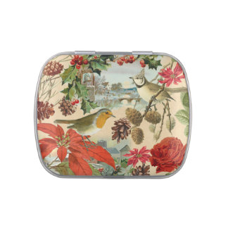 Vintage Christmas jelly belly candy tin w/ birds