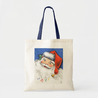 Vintage Christmas Jolly Merry Santa Claus w Music Tote Bags
