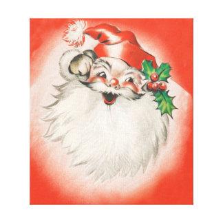 Vintage Christmas, Jolly Retro 50s Santa Claus Canvas Print