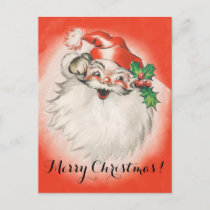 Vintage Christmas, Jolly Retro 50s Santa Claus Holiday Postcard