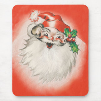 Vintage Christmas, Jolly Retro 50s Santa Claus Mouse Pad