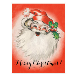 Vintage Christmas, Jolly Retro 50s Santa Claus Postcard