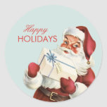 Vintage Christmas Jolly Santa Blue Red Holiday Classic Round Sticker
