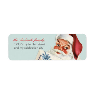 Vintage Christmas Jolly Santa Blue Red Holiday Label