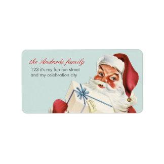 Vintage Christmas Jolly Santa Blue Red Holiday Custom Address Label