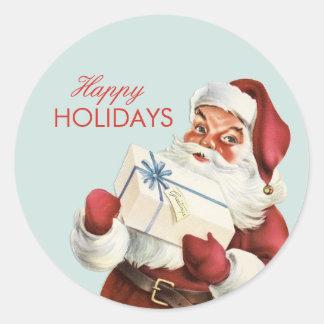 Vintage Christmas Jolly Santa Blue Red Holiday Round Sticker