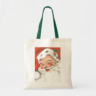 Vintage Christmas, Jolly Santa Claus Canvas Bag