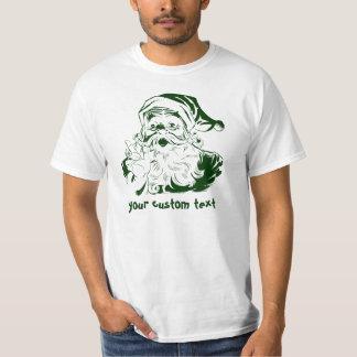 Vintage Christmas, Jolly Santa Claus in Green T-Shirt