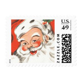 Vintage Christmas, Jolly Santa Claus Postage Stamps