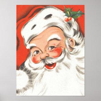 Vintage Christmas, Jolly Santa Claus Posters