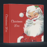 """Vintage Christmas, Jolly Santa Claus Winking 3 Ring Binder<br><div class=""""desc"""">Ho,  ho,  ho,  Merry Christmas! Vintage illustration Christmas holiday design featuring a jolly,  happy Santa Claus winking as if he has a secret. He is wearing a hat with holly leaves.</div>"""