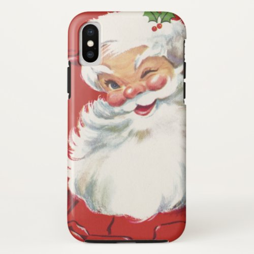 Vintage Christmas Jolly Santa Claus Winking iPhone X Case