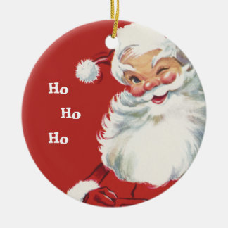 Vintage Christmas, Jolly Santa Claus Winking Ceramic Ornament