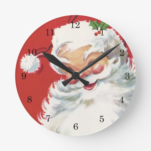 Vintage christmas santa claus wallclock zazzle