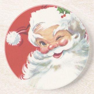 Vintage Christmas, Jolly Santa Claus Winking Coasters
