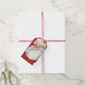 Vintage Christmas, Jolly Santa Claus Winking Gift Tags