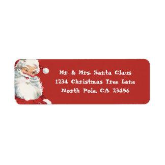 Vintage Christmas, Jolly Santa Claus Winking Label