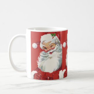 Vintage Christmas, Jolly Santa Claus Winking Mugs