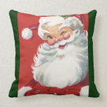 Vintage Christmas, Jolly Santa Claus Winking Throw Pillow
