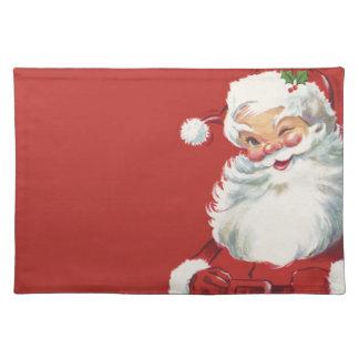 Vintage Christmas, Jolly Santa Claus Winking Placemat