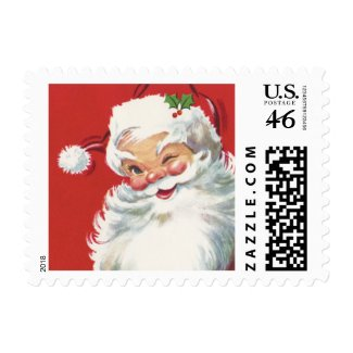 Vintage Christmas, Jolly Santa Claus Winking Postage Stamp