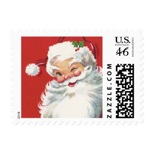 Vintage Christmas, Jolly Santa Claus Winking stamp