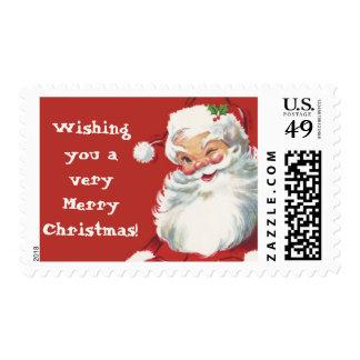 Vintage Christmas, Jolly Santa Claus Winking Postage
