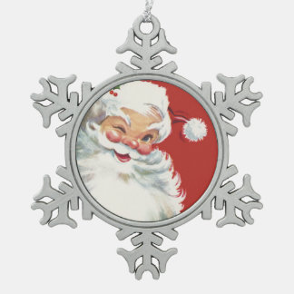 Vintage Christmas, Jolly Santa Claus Winking Snowflake Pewter Christmas Ornament
