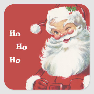 Vintage Christmas, Jolly Santa Claus Winking Square Sticker
