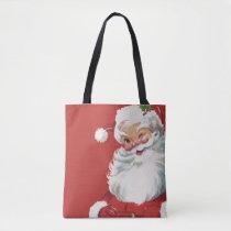 Vintage Christmas, Jolly Santa Claus Winking Tote Bag